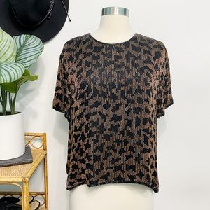 vintage   stenay beaded leopard glam blouse 80's l